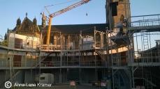 Die Baustelle des World Trade Centers befindet sich mitten auf dem Magdeburger Domplatz